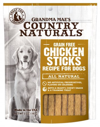 Grandma Mae's Country Naturals Grain-Free Chicken Sticks Dog Treats, 5-oz