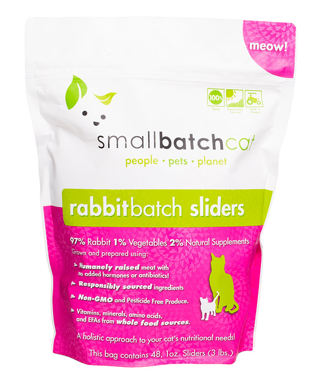 Small Batch Cat Rabbit Batch 1-oz Sliders Raw Frozen Cat Food, 3-lb