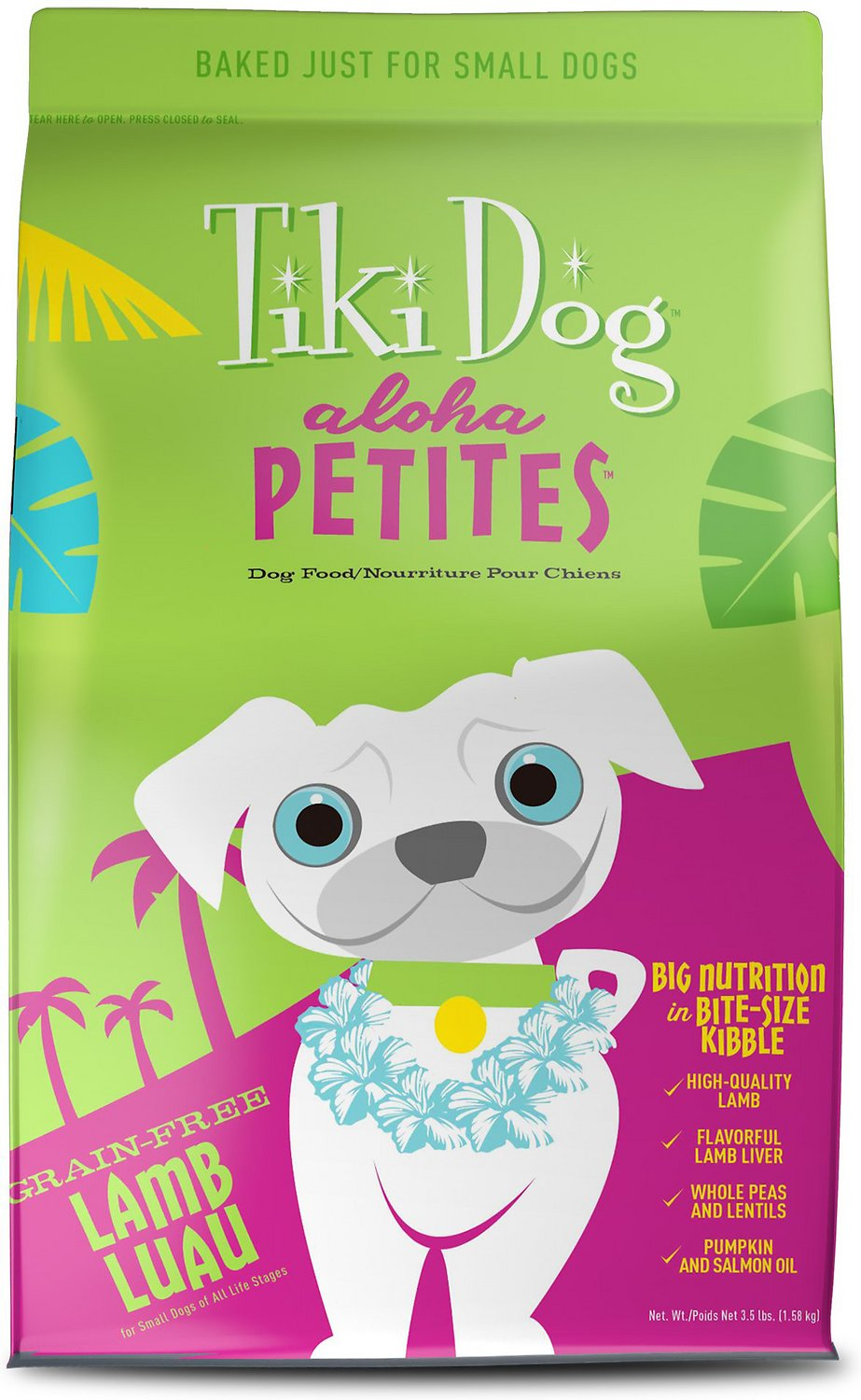 Tiki Dog Aloha Petites Lamb Luau Grain-Free Dry Dog Food, 3.5-lb