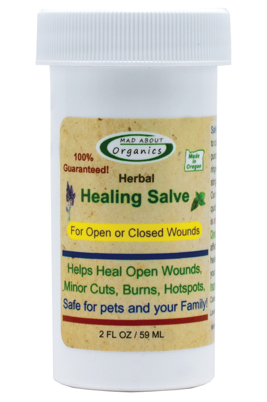 Mad About Organics All Natural Herbal Skin Wound Healing Salve for All Pets, 2oz