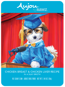 Aujou Chicken & Chicken Liver Pouch Dog Food, 2.46-oz