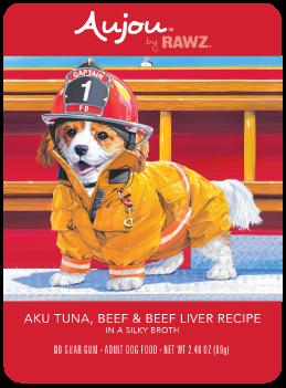 Aujou Salmon Beef & Tuna Pouch Dog Food