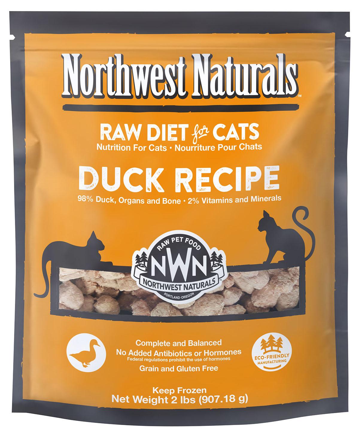 Northwest Naturals Raw Diet Grain-Free Duck Nibbles Frozen Cat Food, 2-lbs