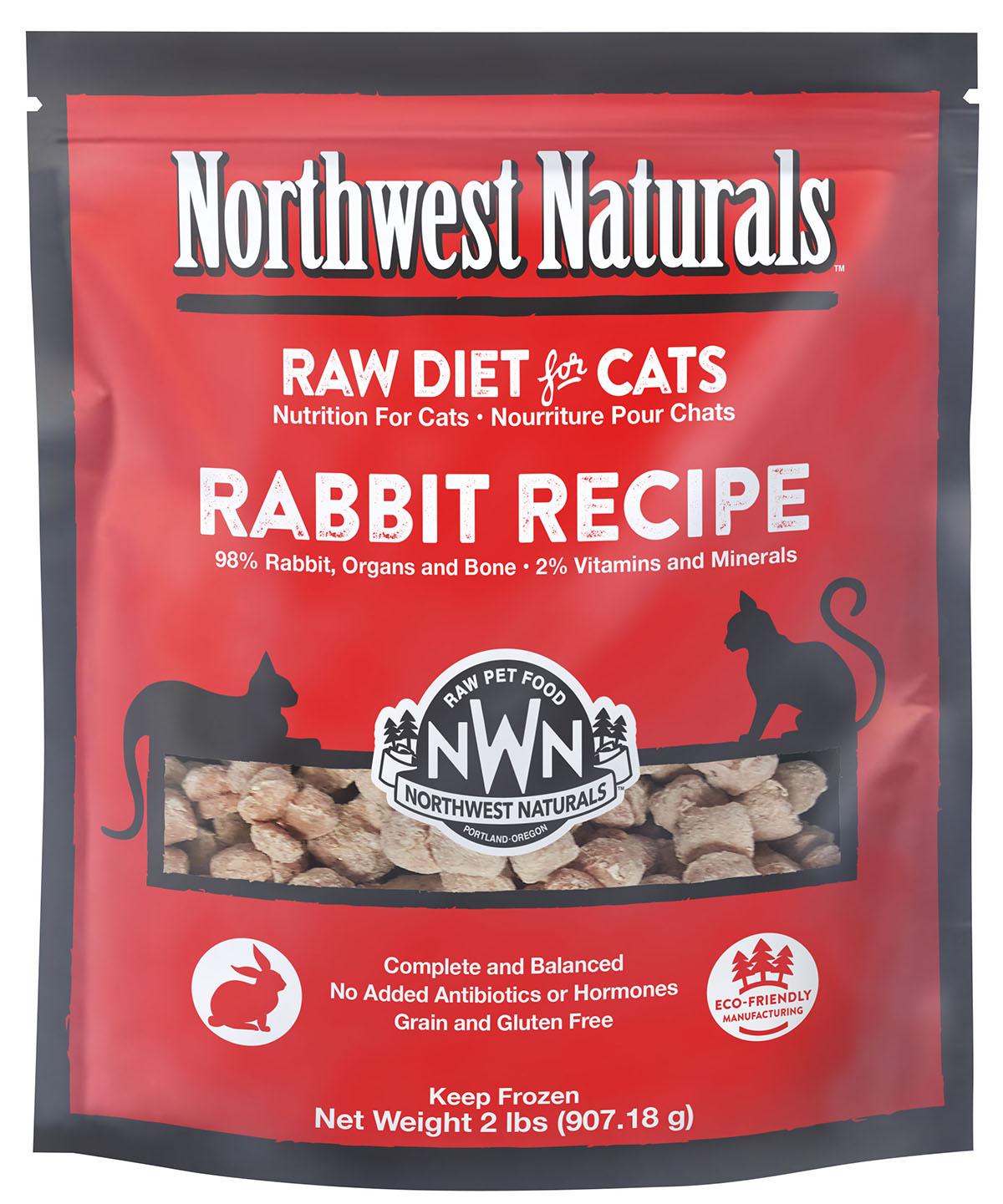 Northwest Naturals Raw Diet Grain-Free Rabbit Nibbles Frozen Cat Food, 2-lbs