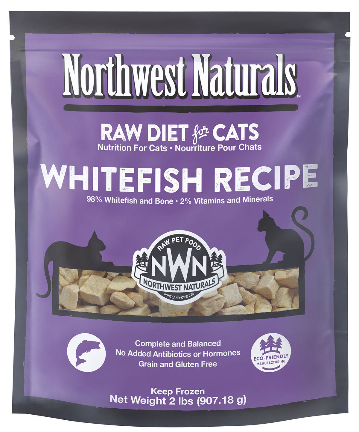 Northwest Naturals Raw Diet Grain-Free Whitefish Nibbles Frozen Cat Food, 2-lbs