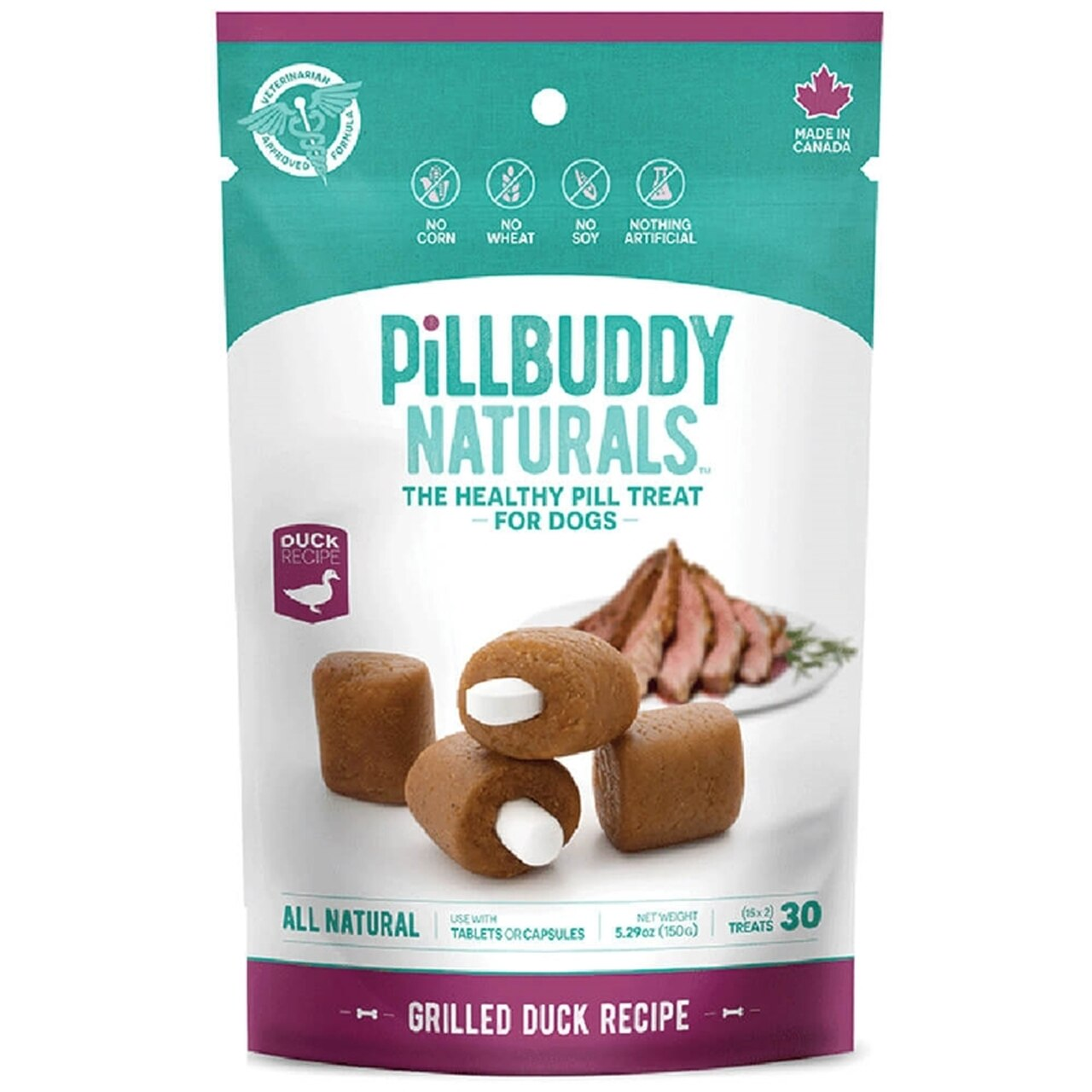 Pill Buddy Naturals Grilled Duck Recipe Pill Treats for Dogs, 5.29-oz