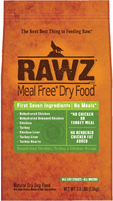 RAWZ Meal Free Dry Dog Food Dehydrated Chicken, Turkey & Chicken Recipe