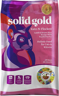 Solid Gold Katz-n-Flocken Lamb & Brown Rice Recipe with Pearled Barley Dry Cat Food, 12-lb