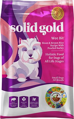 Solid Gold Wee Bit Bison & Brown Rice Recipe with Pearled Barley Small Breed Dry Dog Food, 4-lb