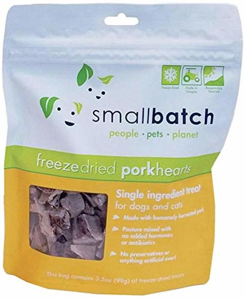 Small Batch Treats Freeze-Dried Pork Hearts Dog Treats, 3.5-oz