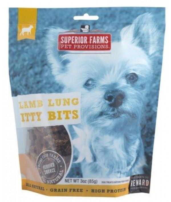Superior Farms Pet Provisions Lamb Lung Itty Bits Grain Free Dog Treats, 3-oz Bag