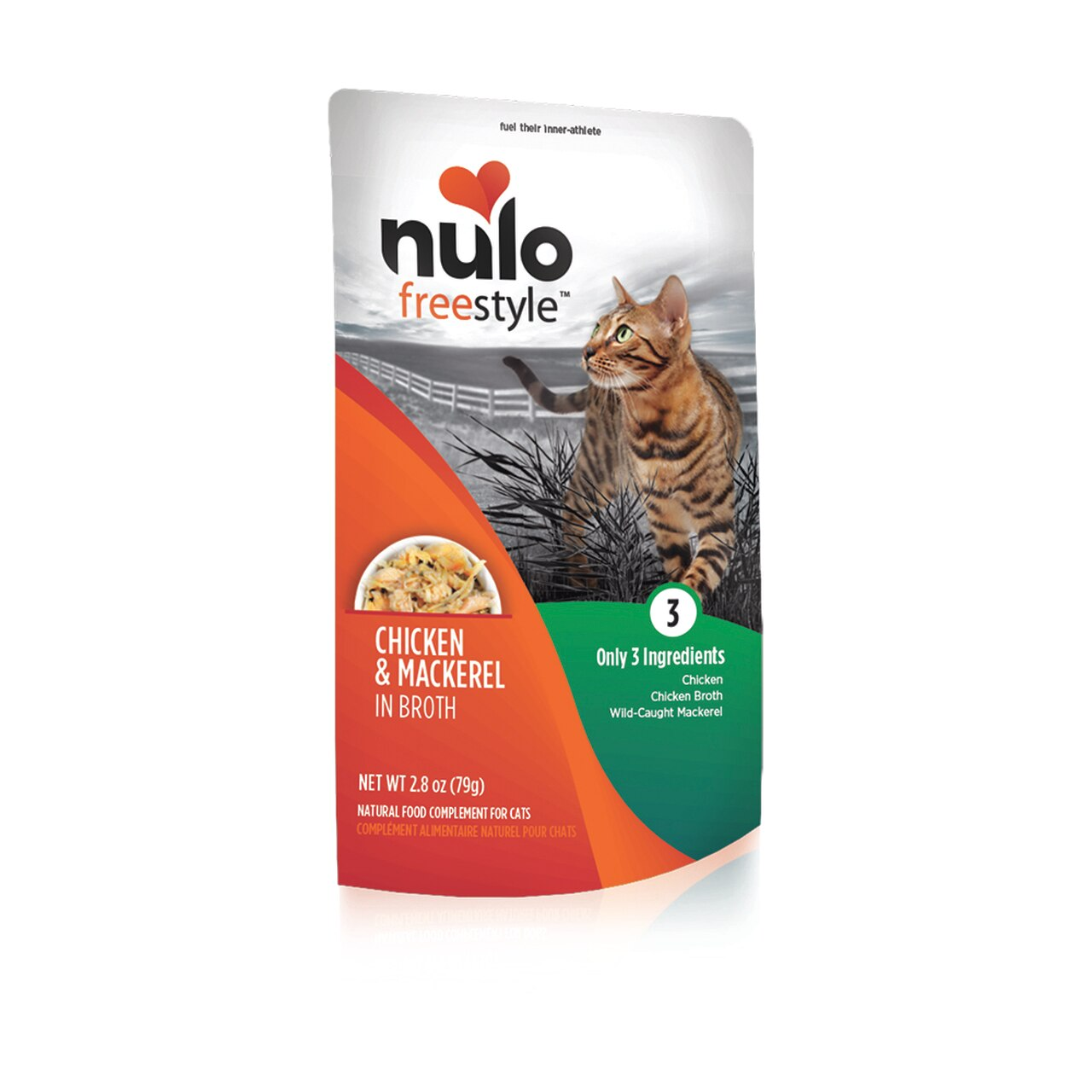 Nulo Cat Freestyle Pouch Chicken & Mackerel in Broth Cat Food Topper, 2.8-oz