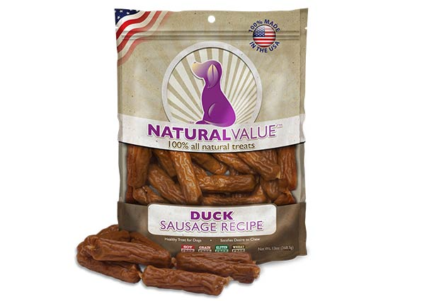 Loving Pets Natural Value All Natural Soft Chew Duck Sausage Recipe for Dogs, 14-oz