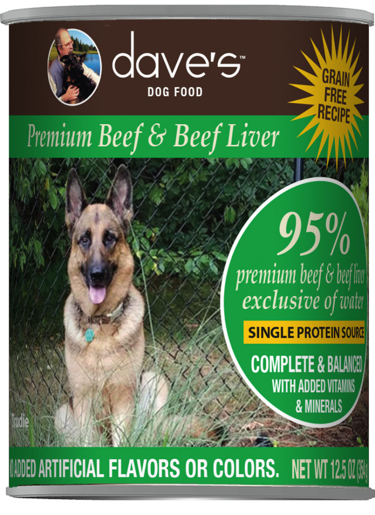 Dave's Dog Food 95% Premium Beef & Beef Liver Grain-Free Wet Dog Food, 12.5-oz can, case of 12