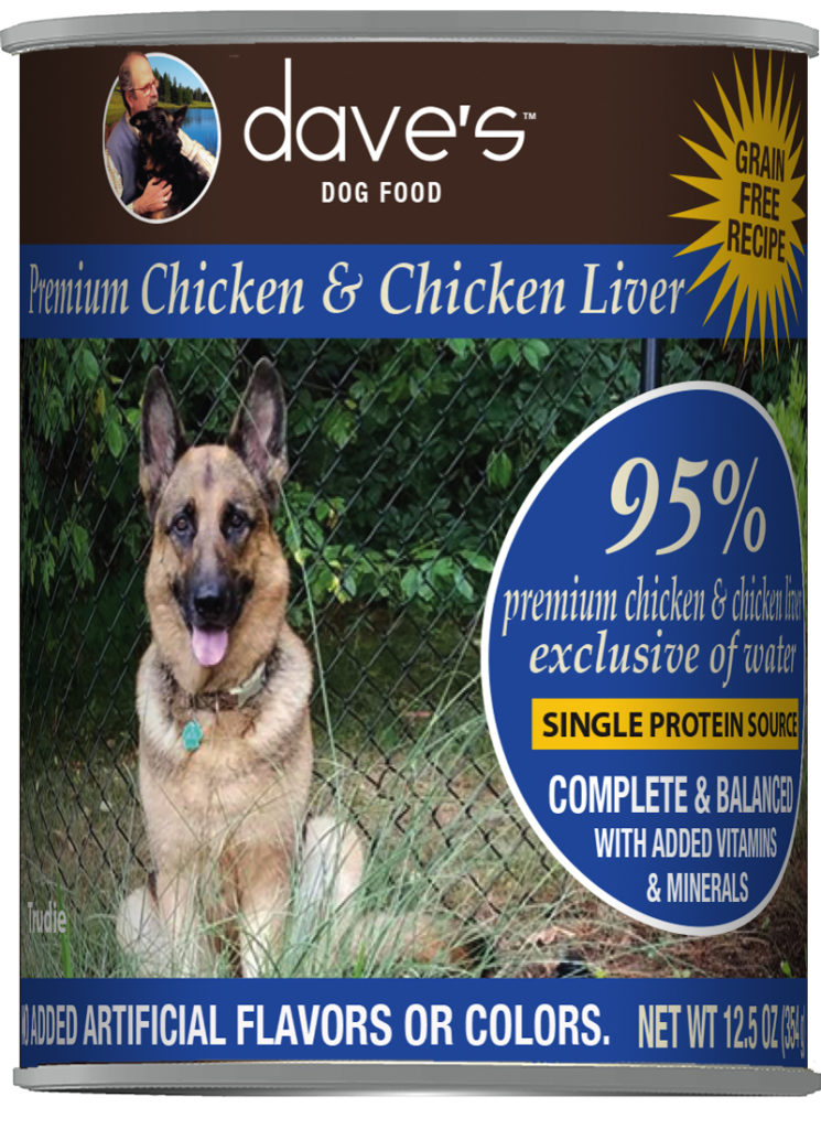 Dave's Dog Food 95% Premium Chicken and Chicken Liver Grain-Free Wet Dog Food, 12.5-oz can, case of 12