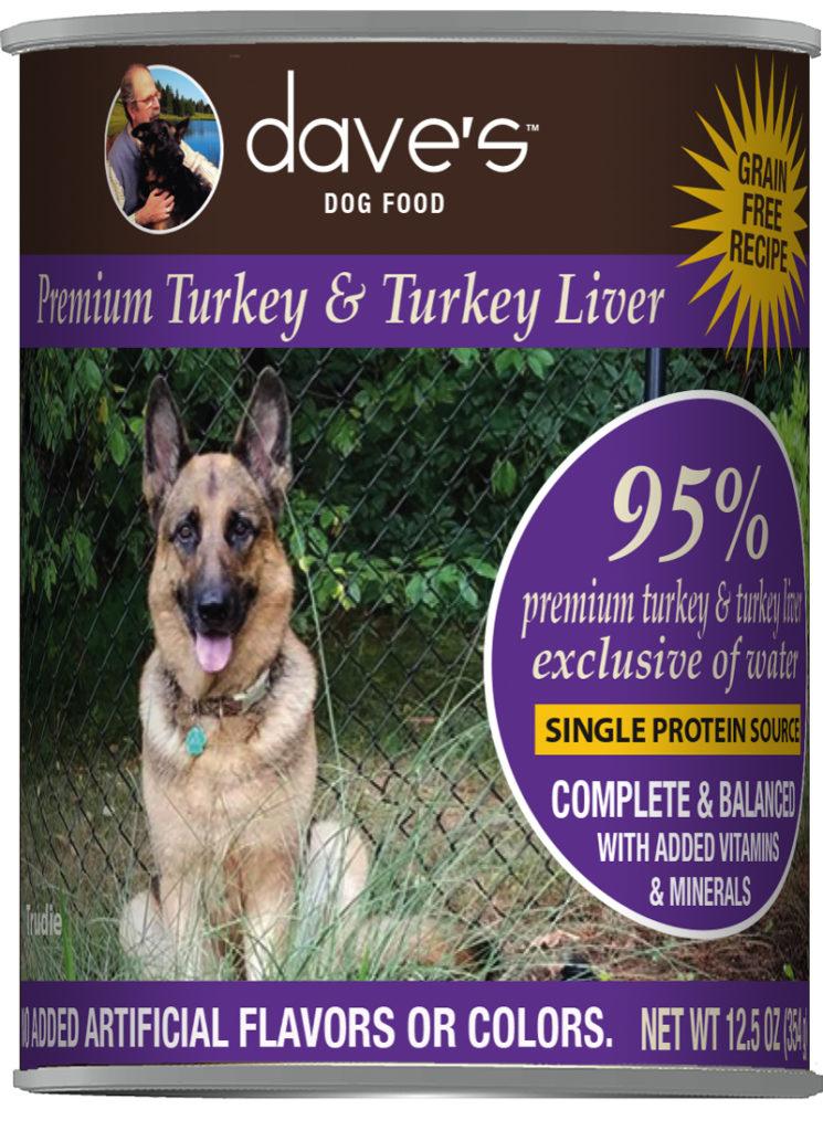 Dave's Dog Food 95% Premium Turkey & Turkey Liver Grain-Free Wet Dog Food, 12.5-oz can, case of 12