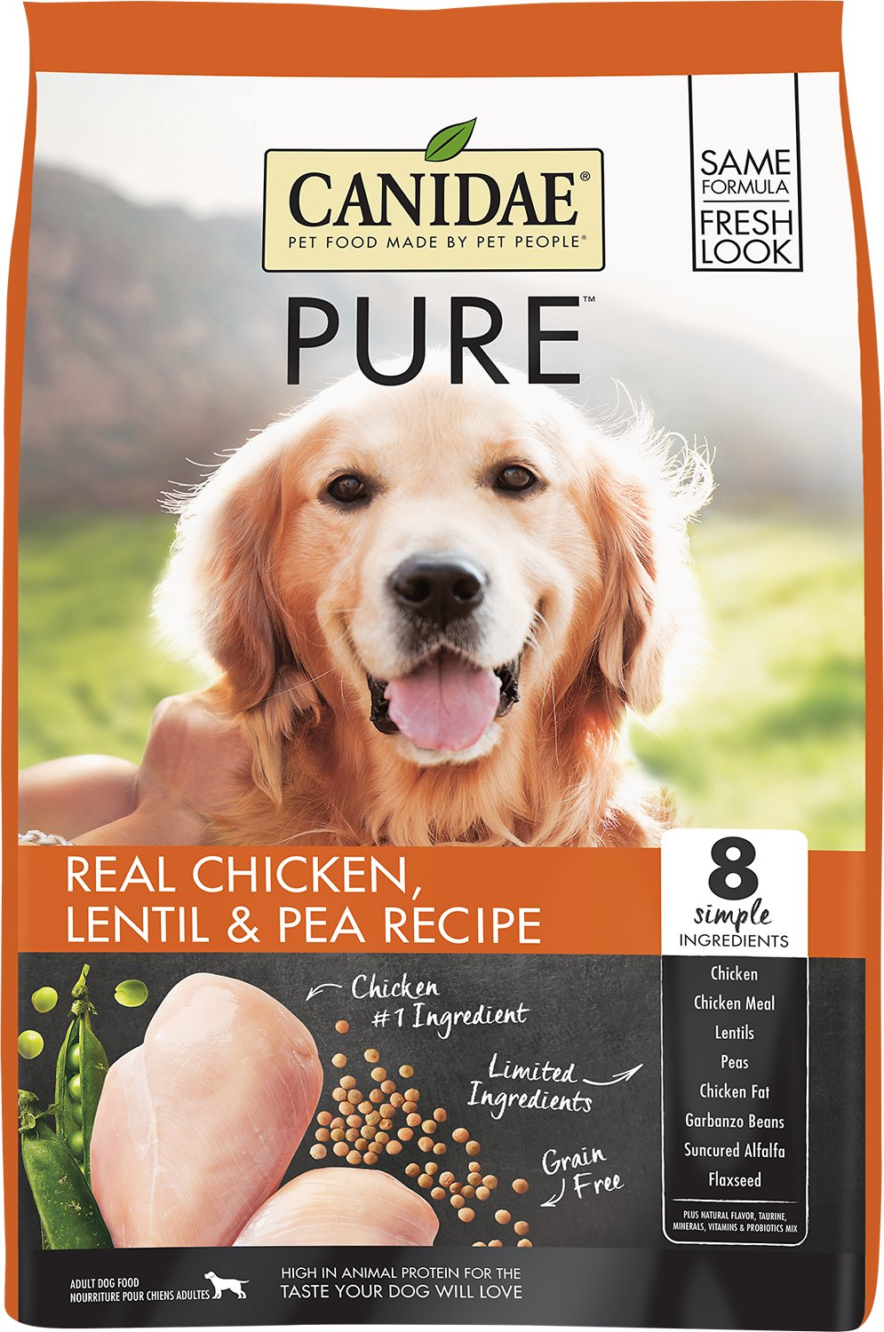 CANIDAE Grain-Free PURE Real Chicken, Lentil & Pea Recipe Dry Dog Food