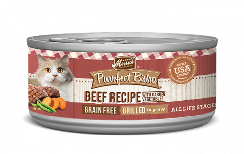 Merrick Cat Grain-Free Purrfect Bistro Grilled Beef & Vegetables Canned Cat Food, 3-oz