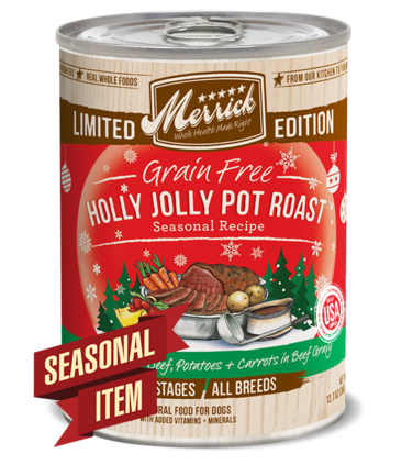 Merrick Limited Edition Grain-Free Holly Jolly Pot Roast Canned Dog Food, 12.7-oz