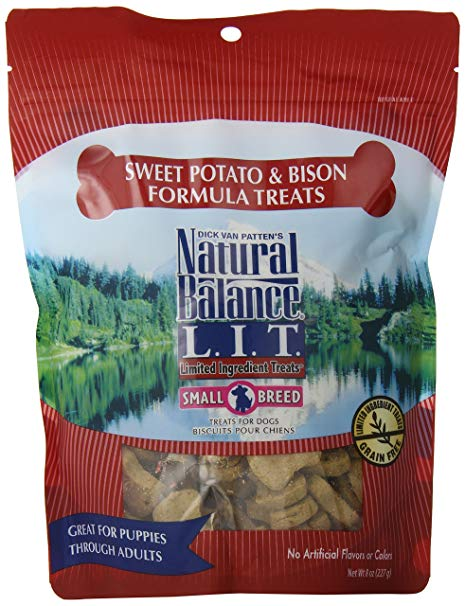 Natural Balance L.I.T. Sweet Potato & Bison Formula Dog Treats, 8-oz, case of 12