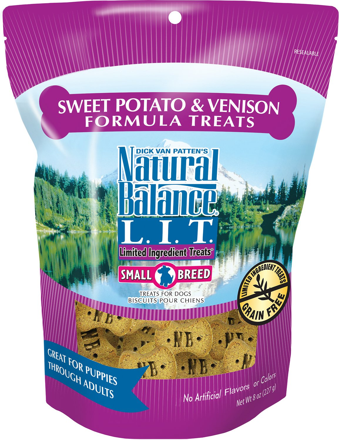 Natural Balance L.I.T. Limited Ingredient Treats Sweet Potato & Venison Formula Dog Treats, 8-oz, case of 12
