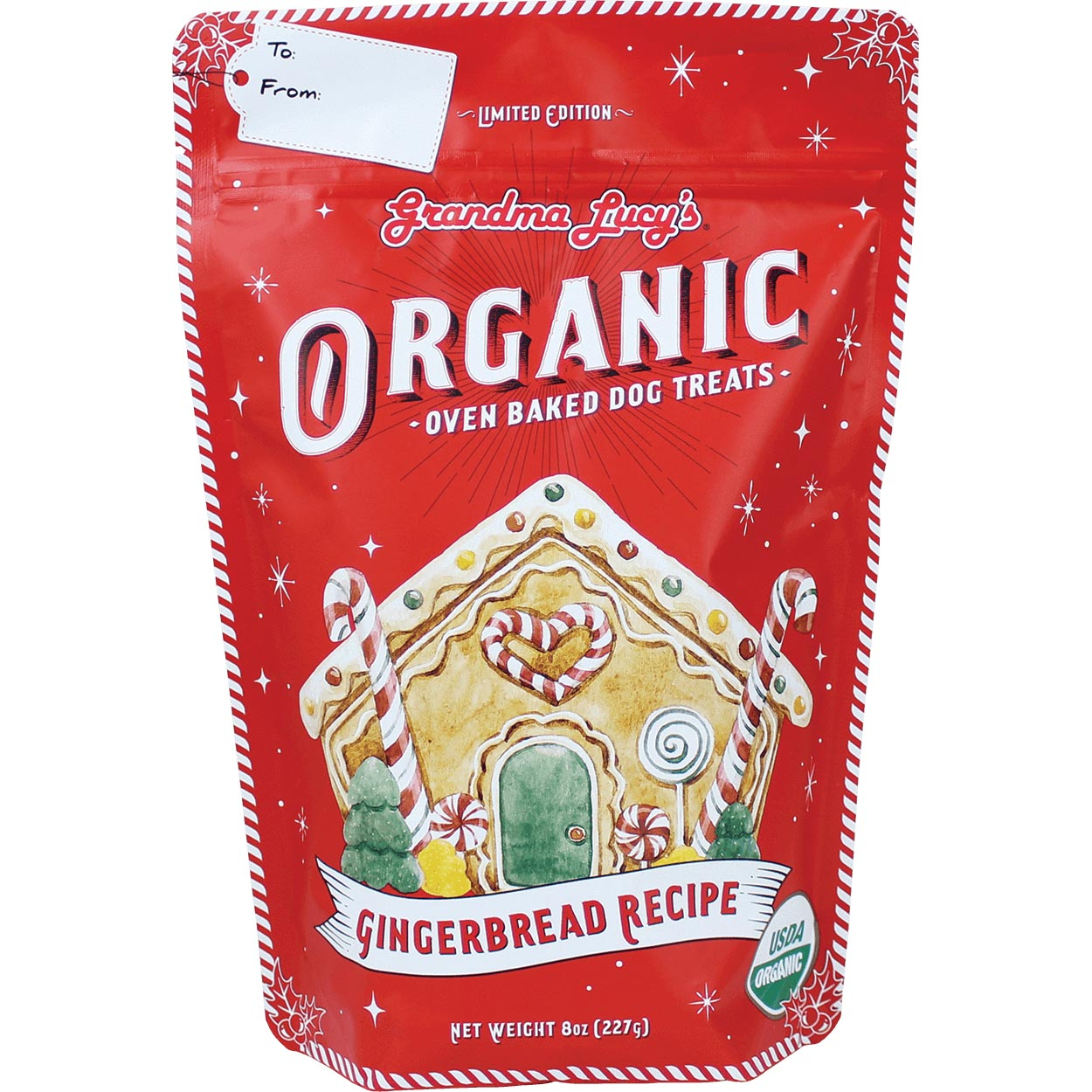 Grandma Lucy's Organic Baked Gingerbread Recipe Dog Treats, 8-oz