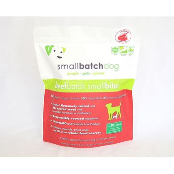 Small Batch Dog Beef Batch Small Bites Raw Frozen Dog Food, 4-lb