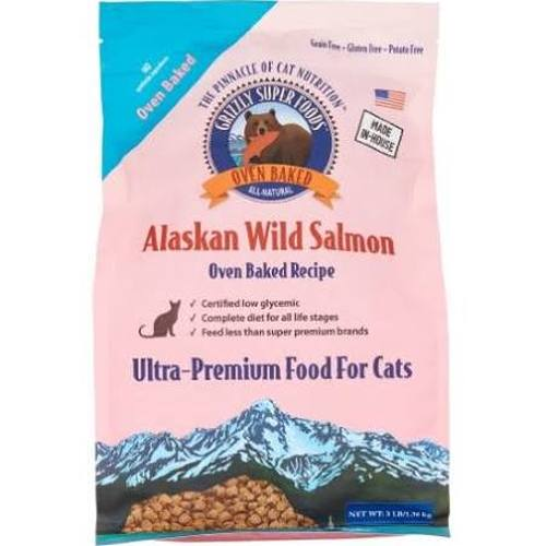 Grizzly Super Foods Wild Alaskan Salmon Oven-Baked Cat Food, 3-lb