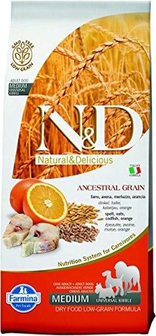 Farmina Natural & Delicious Ancestral Grain Medium Adult Codfish & Orange Low-Grain Dry Dog Food, 26.4-lb
