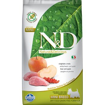 Farmina Natural & Delicious Natural & Delicious Mini Adult Wild Boar & Apple Grain-Free Dry Dog Food, 15.4-lb