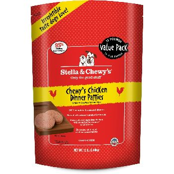 Stella & Chewy's Chewy's Chicken Dinner Patties Grain-Free Raw Frozen Dog Food, 12-lb