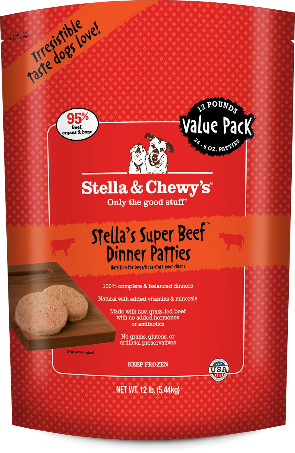 Stella & Chewy's Dog Frozen Super Beef Dinner Patties Frozen Dog Food, 12-lb