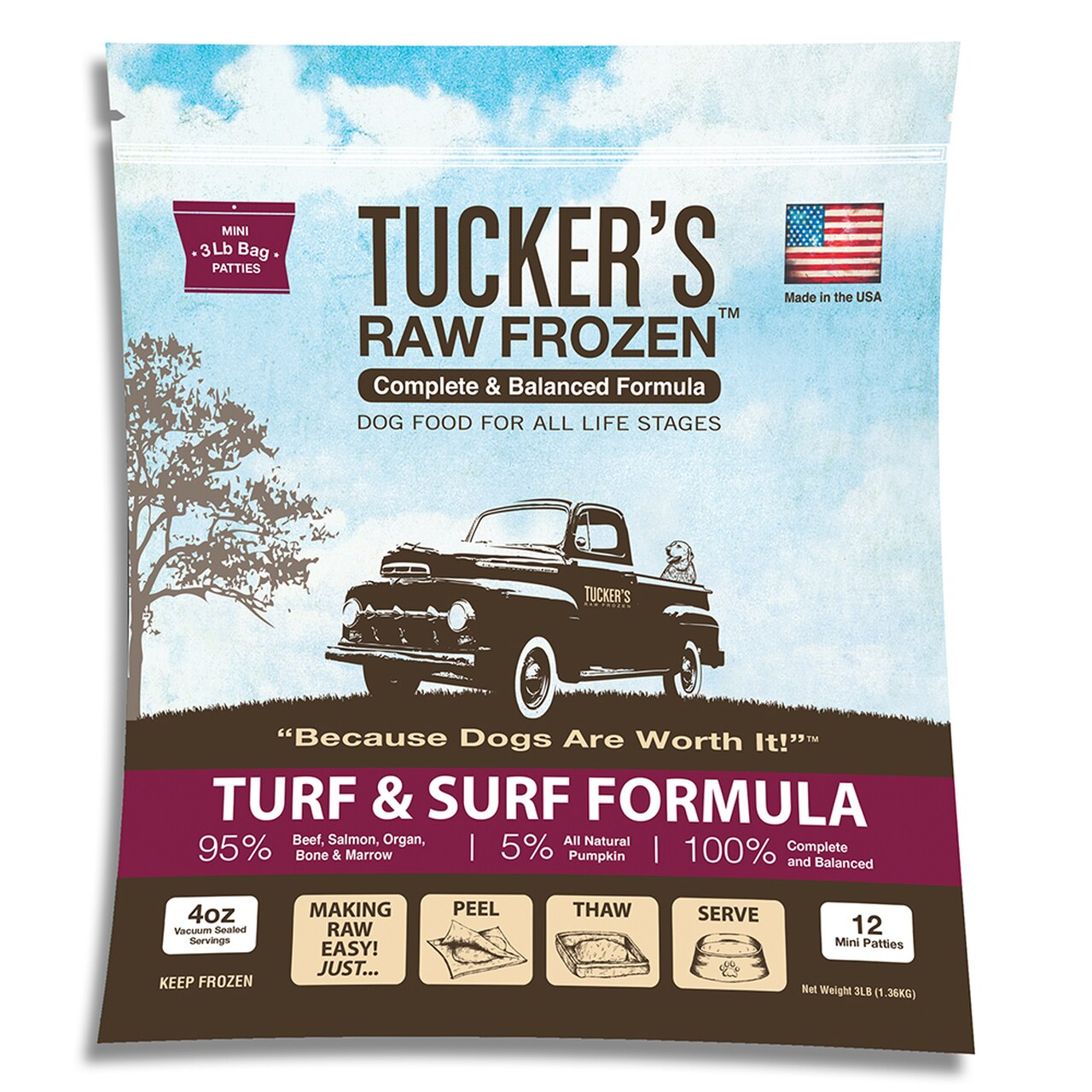 Tucker's Raw Frozen Grain-Free Turf & Surf Formula Raw Frozen Dog Food, 6-lb