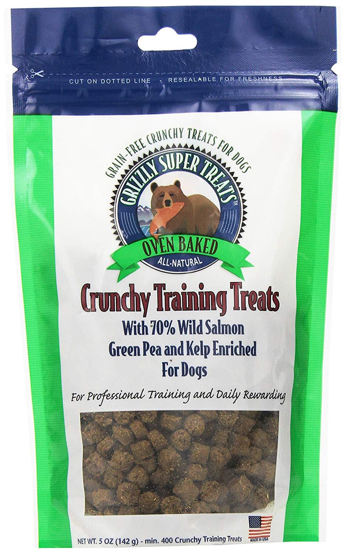 Grizzly Crunchy Training Treats Wild Salmon, Green Pea & Kelp Dog Treats, 0.5-oz