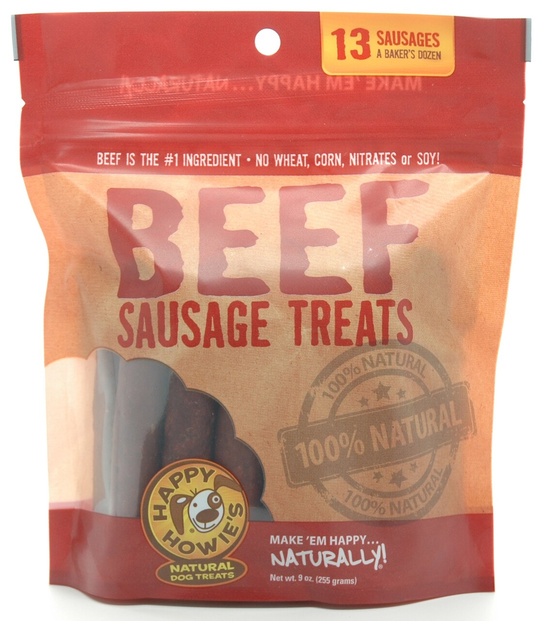 Happy Howie's Beef Sausage Dog Treat, 4-in, 13-count