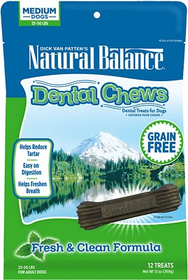 Natural Balance Dental Chews Fresh & Clean Formula Grain-Free Dog Treats, 13-oz