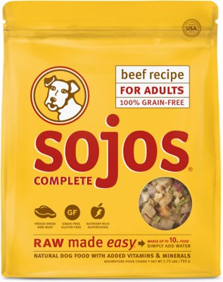 Sojos Complete Beef Recipe Adult Grain-Free Freeze-Dried Raw Dog Food, 1.75-lb