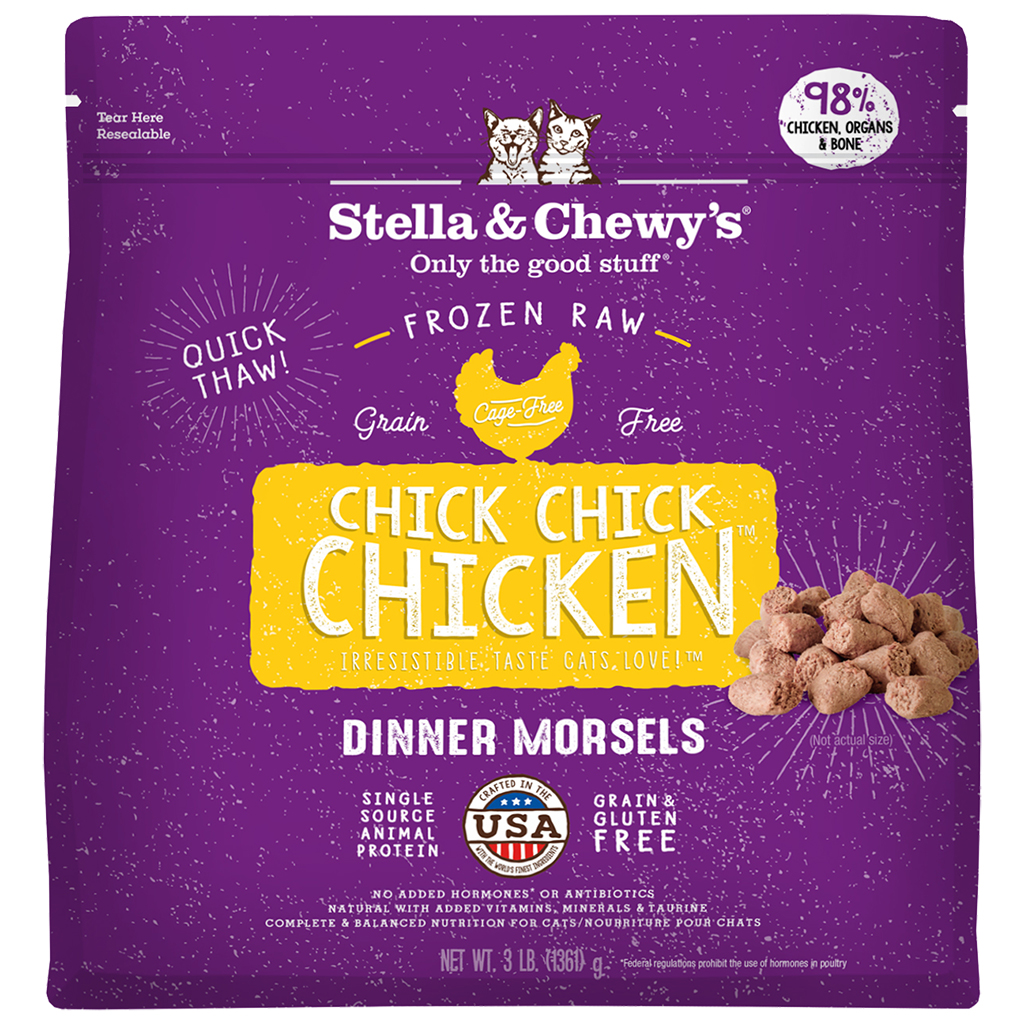 Stella & Chewy's Chick, Chick, Chicken Dinner Morsels Grain-Free Raw Frozen Cat Food, 3-lb