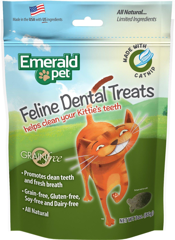 Emerald Pet Feline Dental Treats Catnip Flavored Cat Treats, 3-oz bag