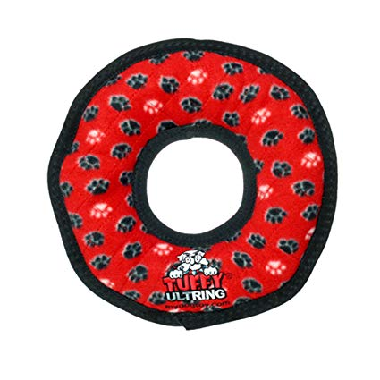 Tuffy's Junior Ring Dog Toy, Red Paws