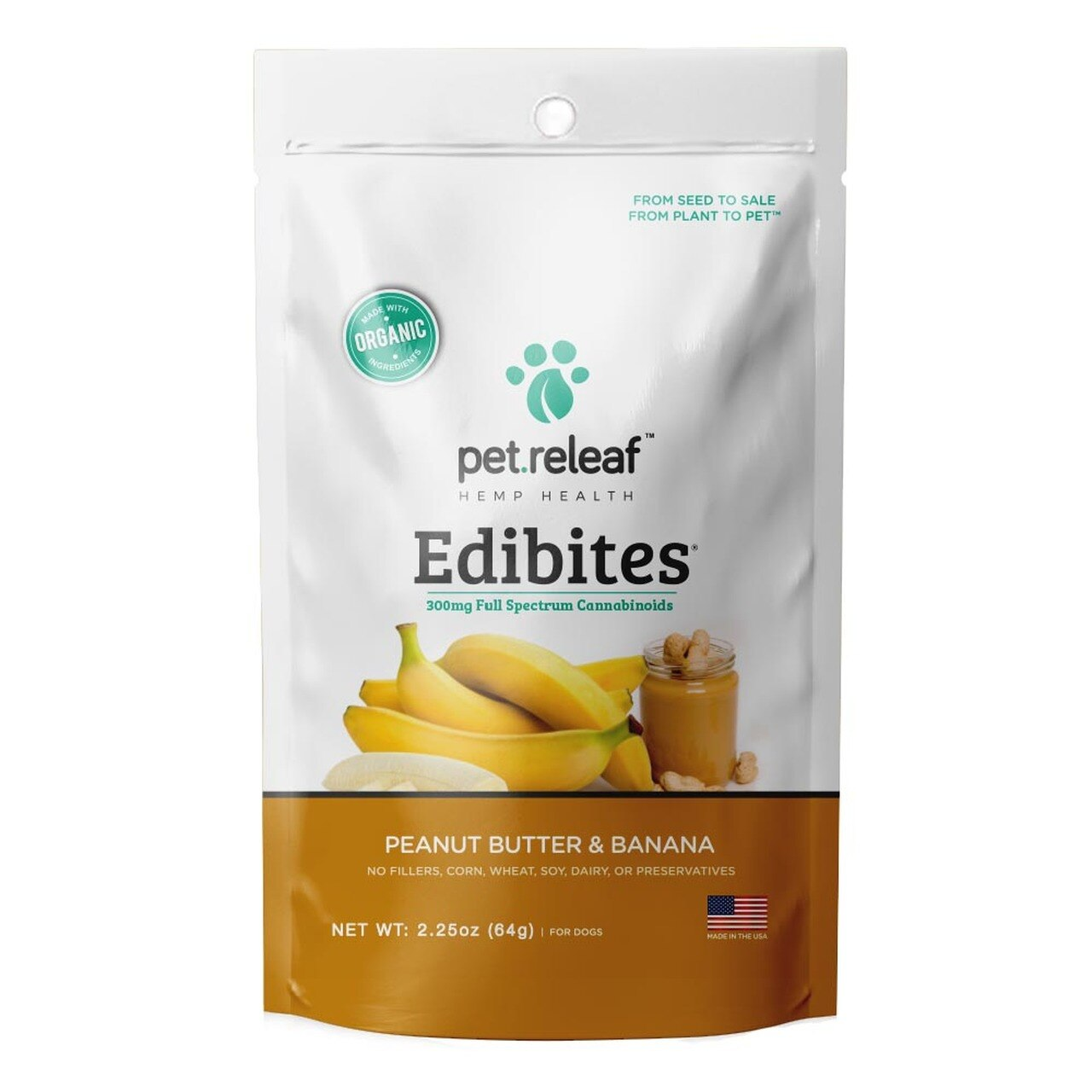Pet Releaf Peanut Butter Banana and Oil Edibites for Dogs, 2.5-oz