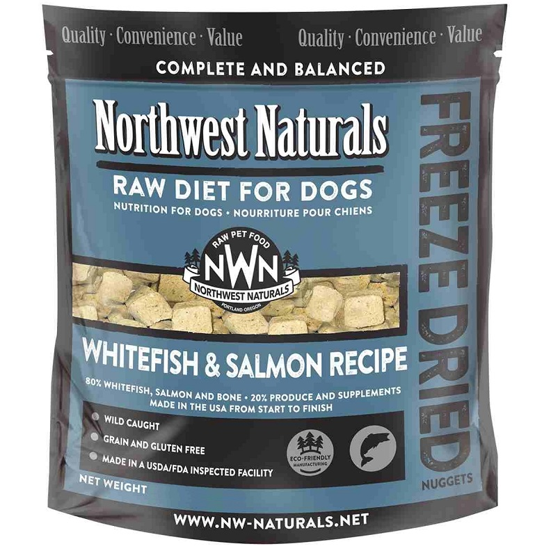 Northwest Naturals Raw Diet Grain-Free Whitefish & Salmon Nuggets Freeze-Dried Dog Food, 1-lb