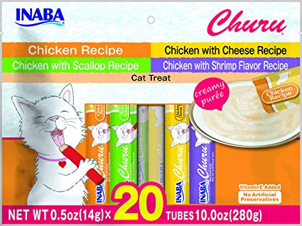 Inaba Churu Chicken Puree Variety Pack Grain-Free Lickable Cat Treats, 20-count