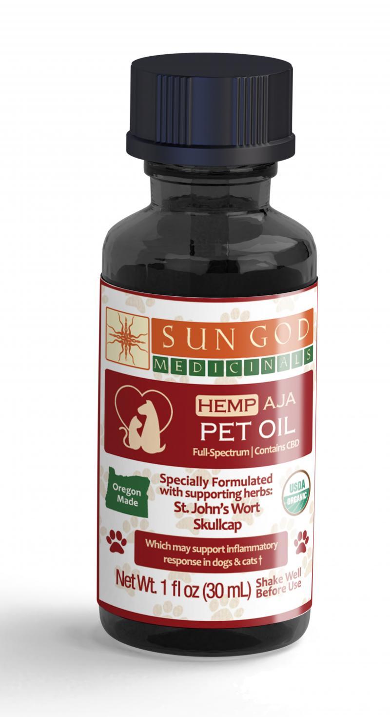 Sun God Medicinals Aja St. John's Wort Skullcap Pet Oil, 30-mL
