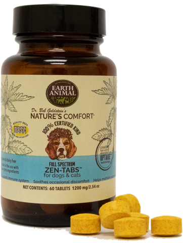 Earth Animal Nature's Comfort Full-Spectrum 1200mg Zen-Tabs for Dogs & Cats, 60-pk