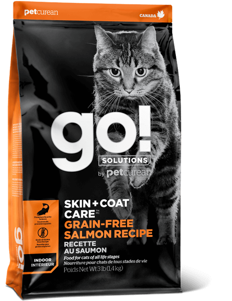 Petcurean Cat Go! Solutions Skin & Coat Care Grain-Free Salmon Recipe Dry Cat Food, 3-lb