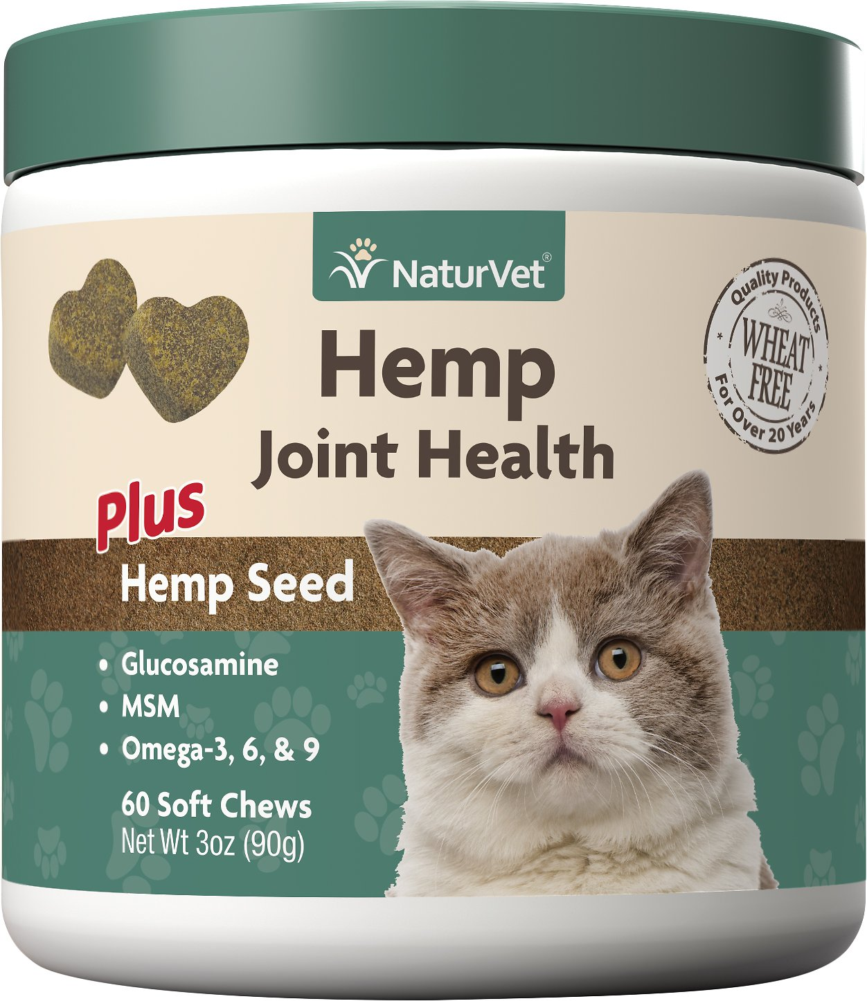 NaturVet Natural Joint Health Plus Natural Seed Soft Chews for Cats, 60 count