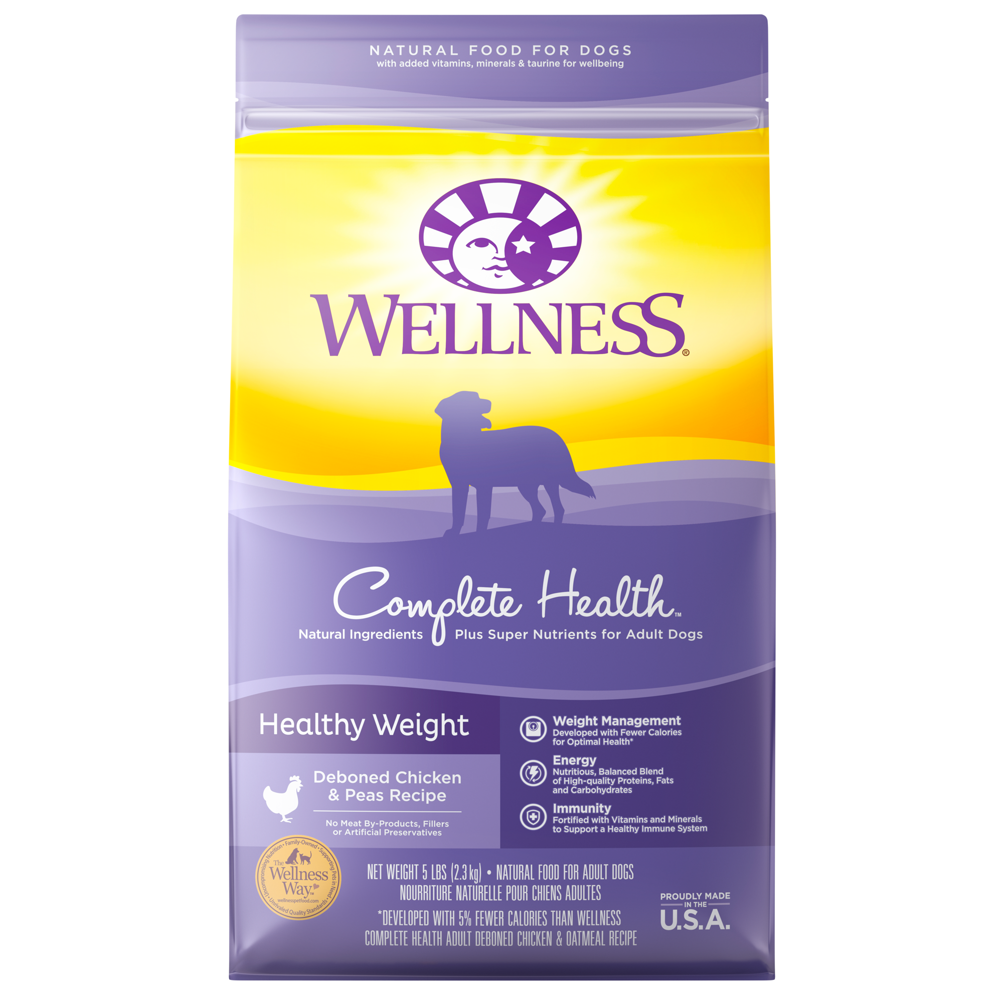 Wellness Complete Health Healthy Weight Deboned Chicken & Peas Recipe Dry Dog Food, 13-lb
