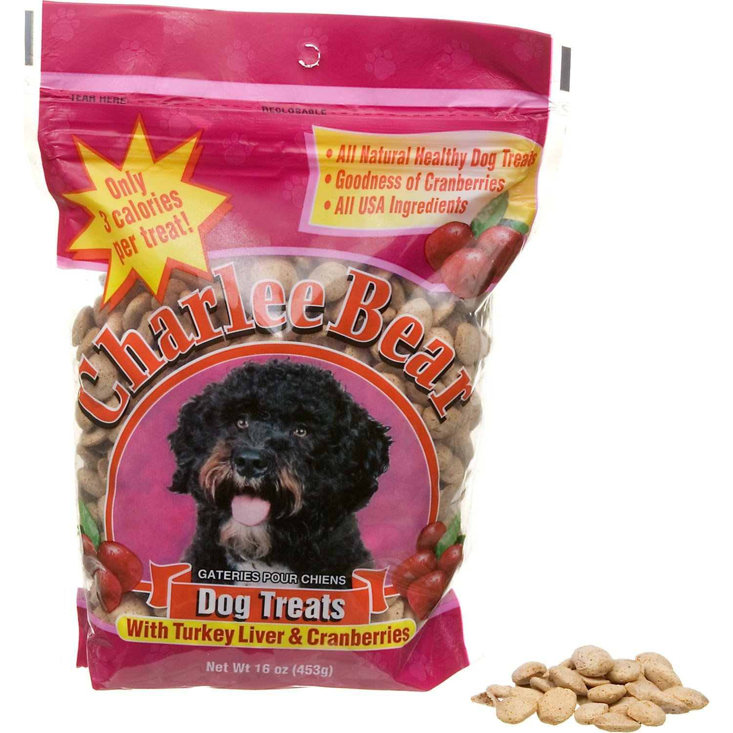 Charlee Bear Turkey Liver & Cranberries Dog Treats, 16-oz