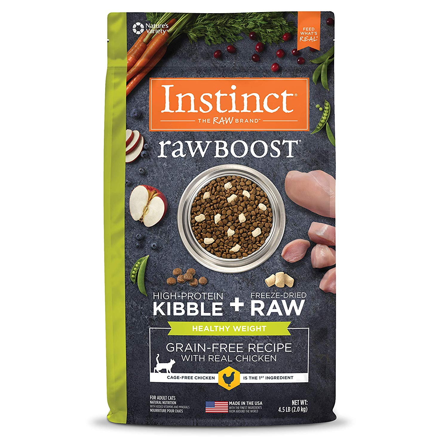 Instinct by Nature's Variety Raw Boost Healthy Weight Grain-Free Recipe with Real Chicken Dry Cat Food, 4.5-lb